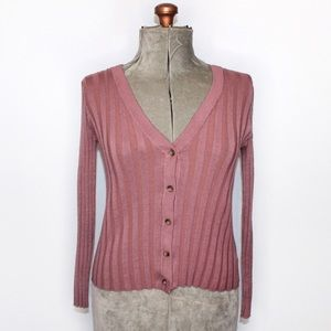 🎀 Pink Rose Dusty Pink Ribbed Button Up Cardigan